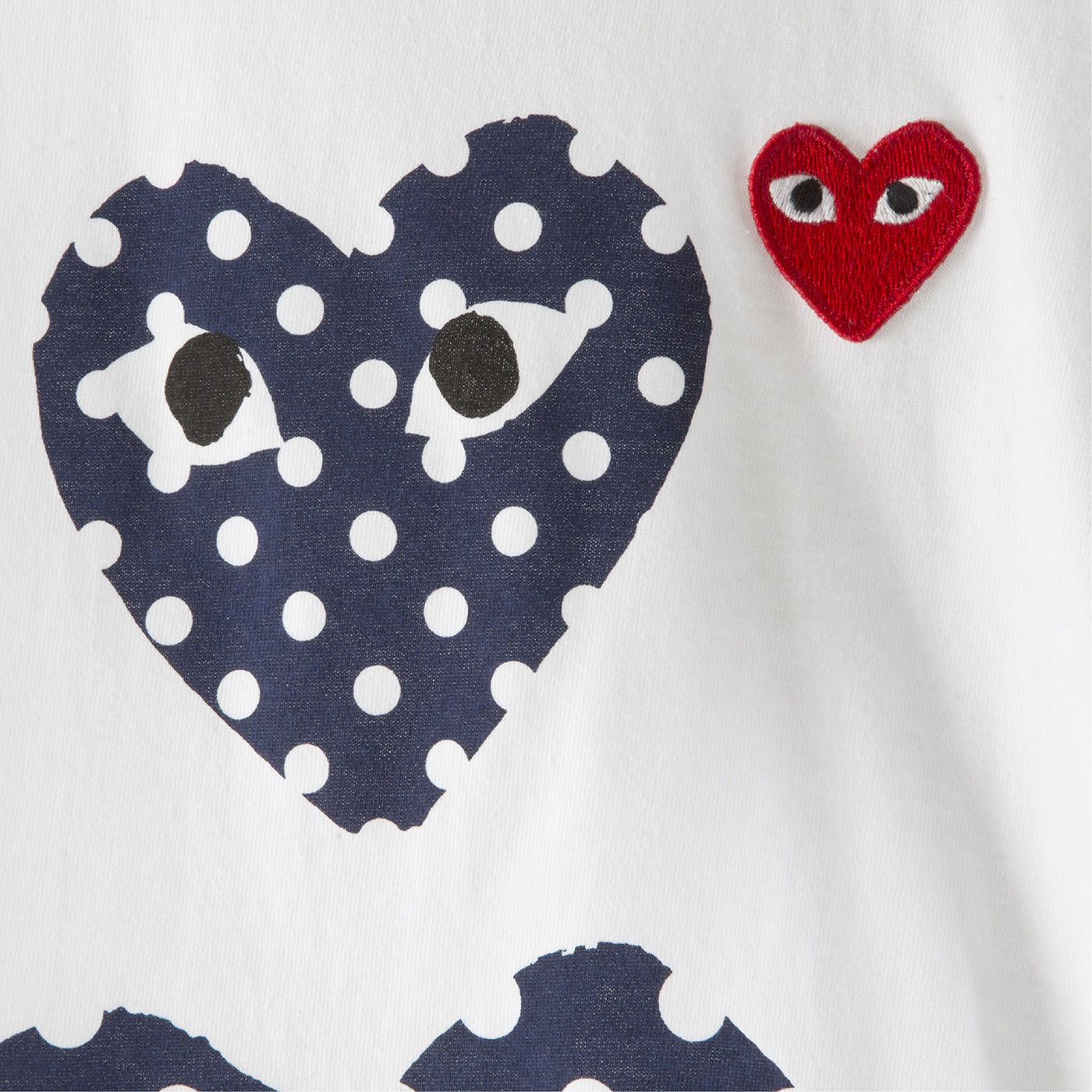 Load image into Gallery viewer, COMME DES GARCONS PLAY T-SHIRT WITH DOUBLE POLKA DOT HEARTS WHITE