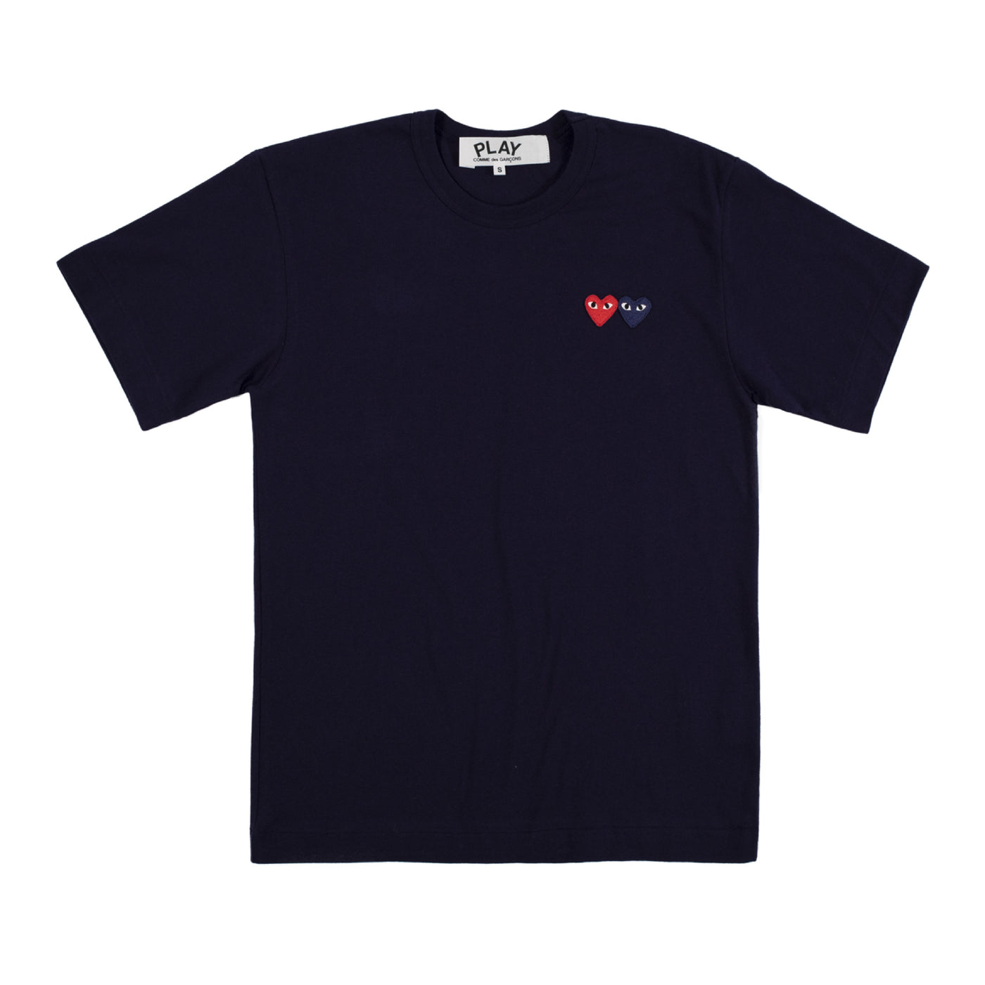Load image into Gallery viewer, COMME DES GARCONS PLAY T-SHIRT WITH SMALL DOUBLE HEARTS NAVY