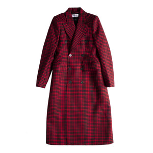 BALENCIAGA HOURGLASS DOUBLE BREASTED COAT RED