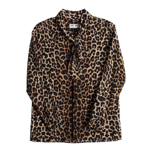 SAINT LAURENT SILK LEOPARD BLOUSE MULTI