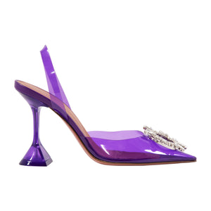 AMINA MUADDI TRANSPARENT SLINGBACK PUMPS PURPLE