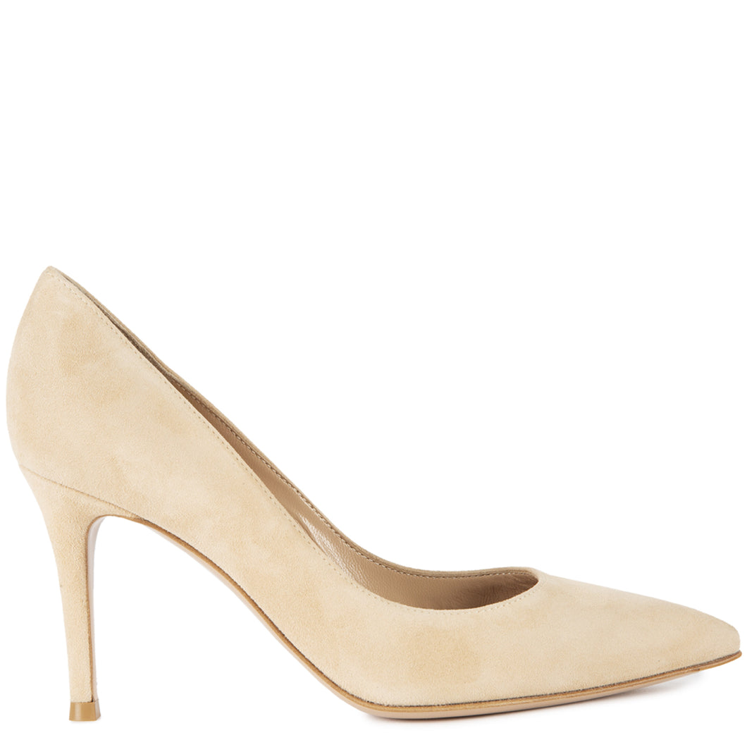 GIANVITO ROSSI SUEDE PUMP NEUTRAL
