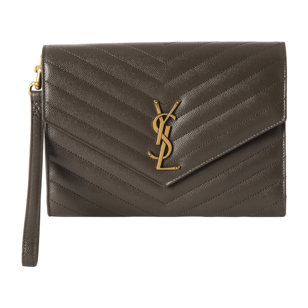 SAINT LAURENT GRAIN DE POUDRE MONOGRAMME CLUTCH GREY