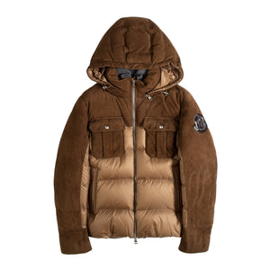 MONCLER MULTITONE PUFFER JACKET BROWN