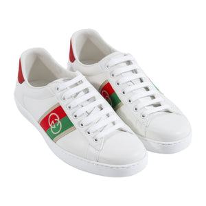 GUCCI LOW TOP SNEAKERS WITH LOGO STRIPE WHITE