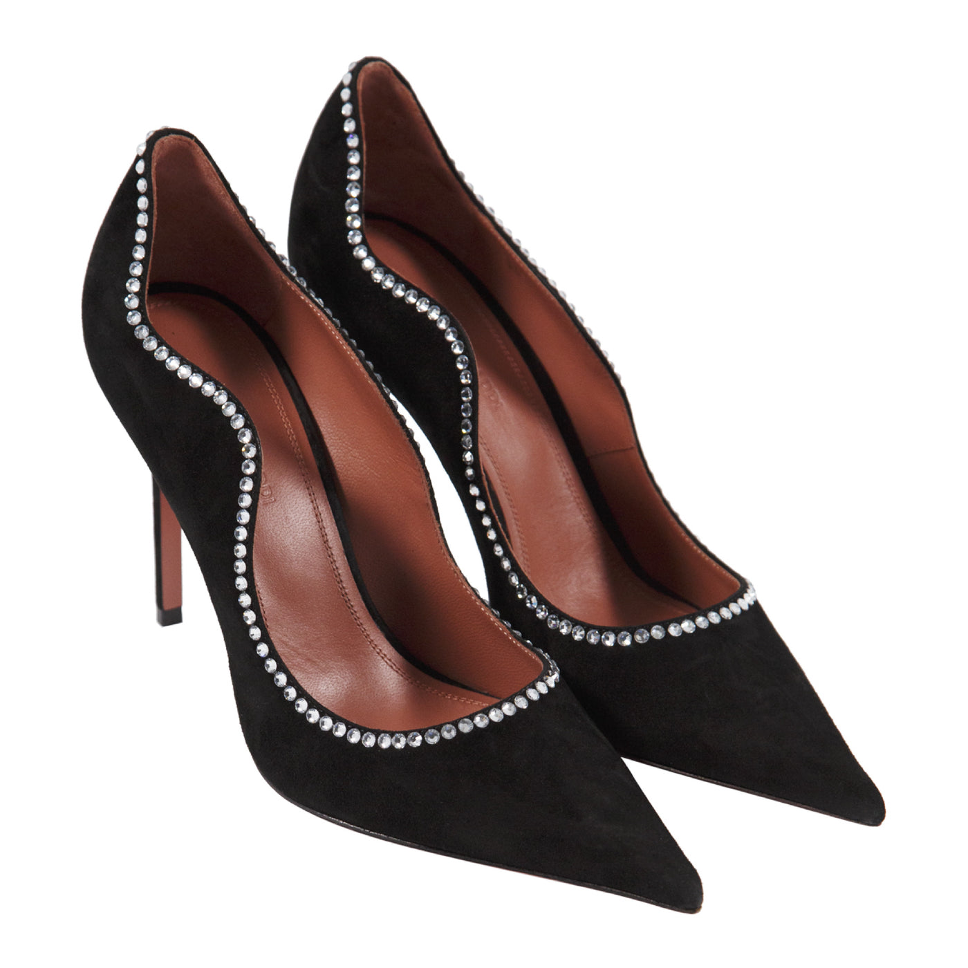 Load image into Gallery viewer, AMINA MUADDI ROMY PUMP CRYSTAL SUEDE BLACK WHITE HEEL 105MM BLACK