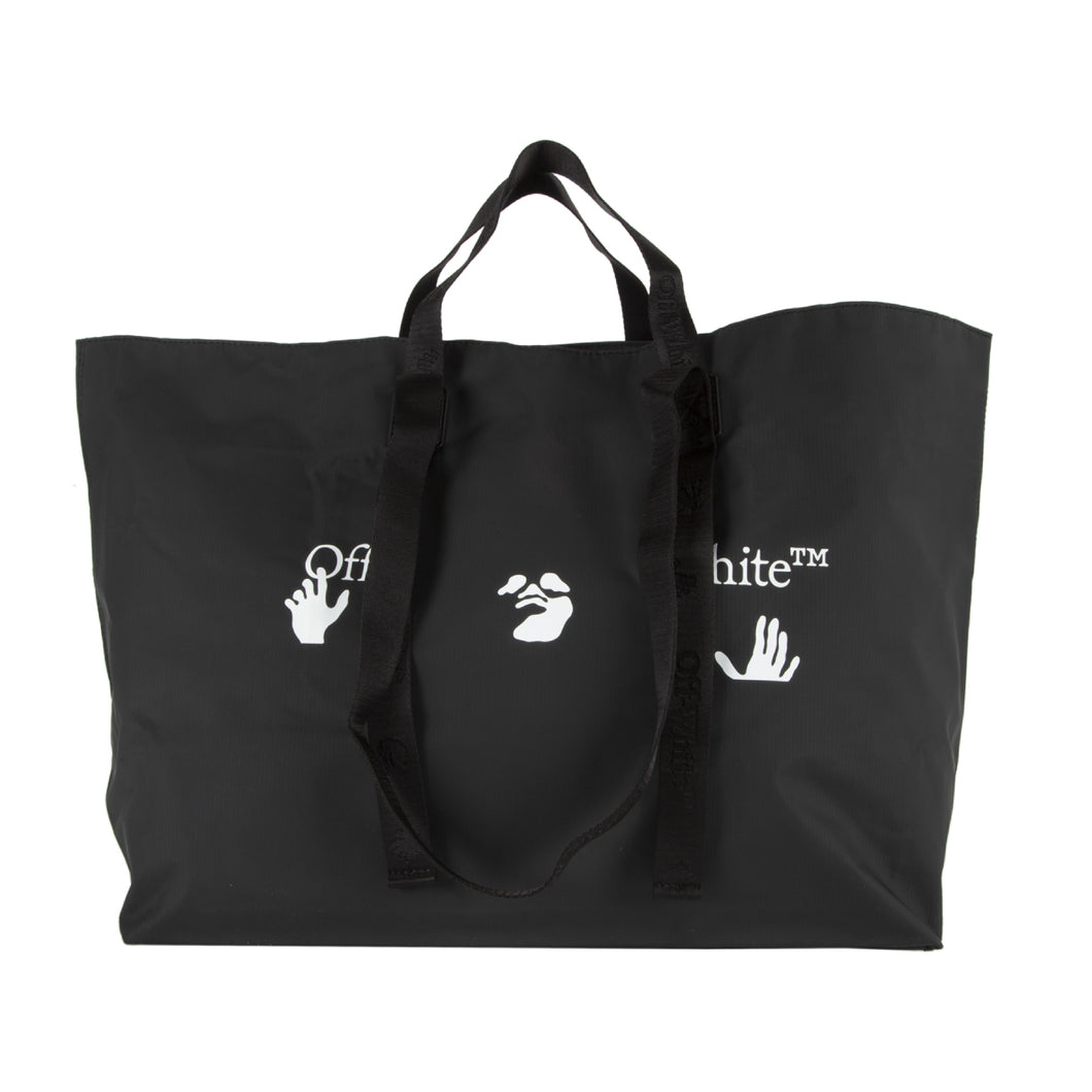 OFF-WHITE LOGO PVC TOTE BLACK