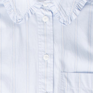 GANNI STRIPE COTTON SHIRT GREY