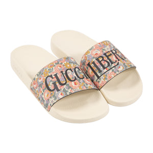 GUCCI PRINTED POOL SLIDES PINK