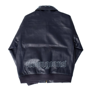 NOON GOONS FLORAL-EMBROIDERED JACKET NAVY