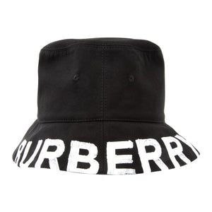 BURBERRY LOGO COTTON BUCKET HAT BLACK