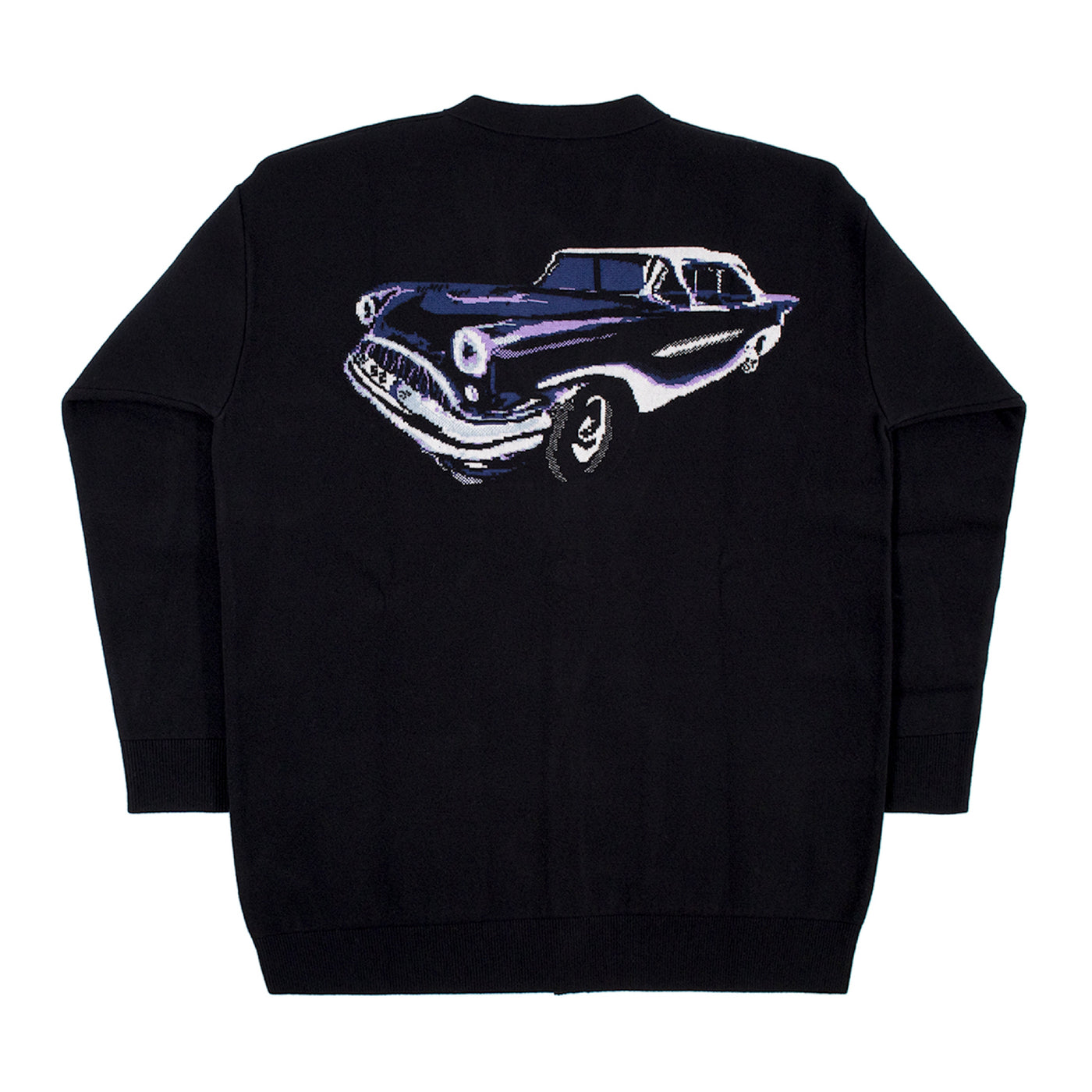 Load image into Gallery viewer, GIVENCHY JACQUARD CAR JACQUARD OVERSIZED CARDIGAN W- TWO POCKETS BLACK