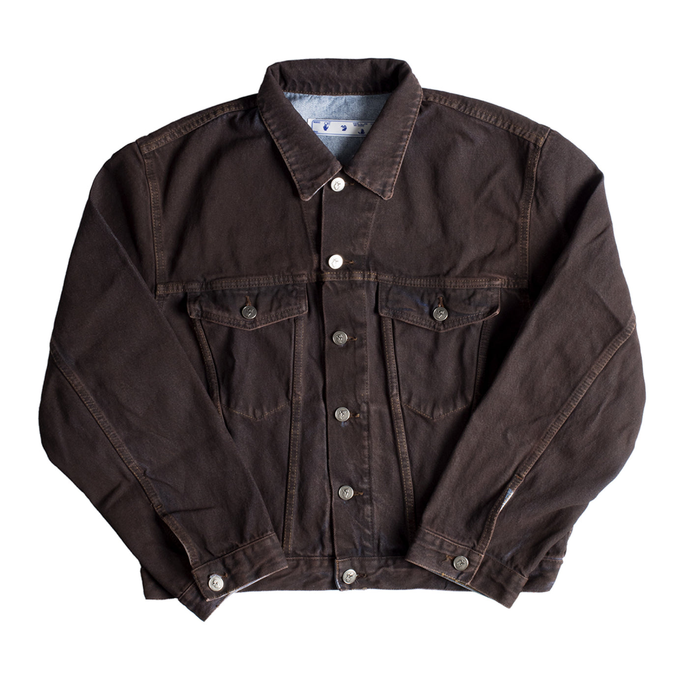 Load image into Gallery viewer, OFF-WHITE AGREEMENT RELAXED FIT JEAN JACKET BROWN