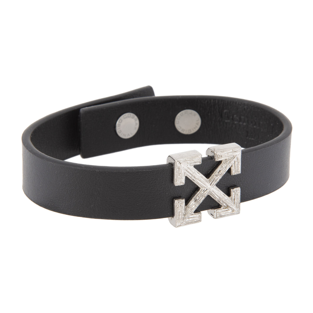 OFF-WHITE ARROW LEATHER BRACELET BLACK