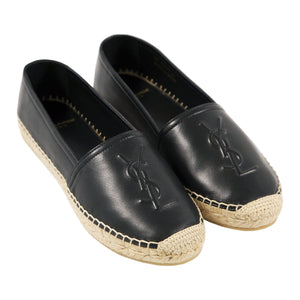SAINT LAURENT LEATHER ESPADRILLE BLACK
