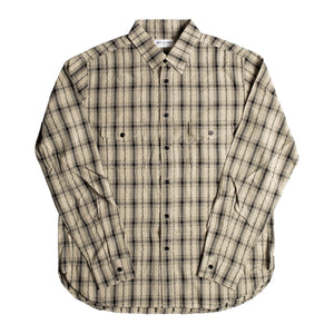 SAINT LAURENT PLAID SHIRT BROWN