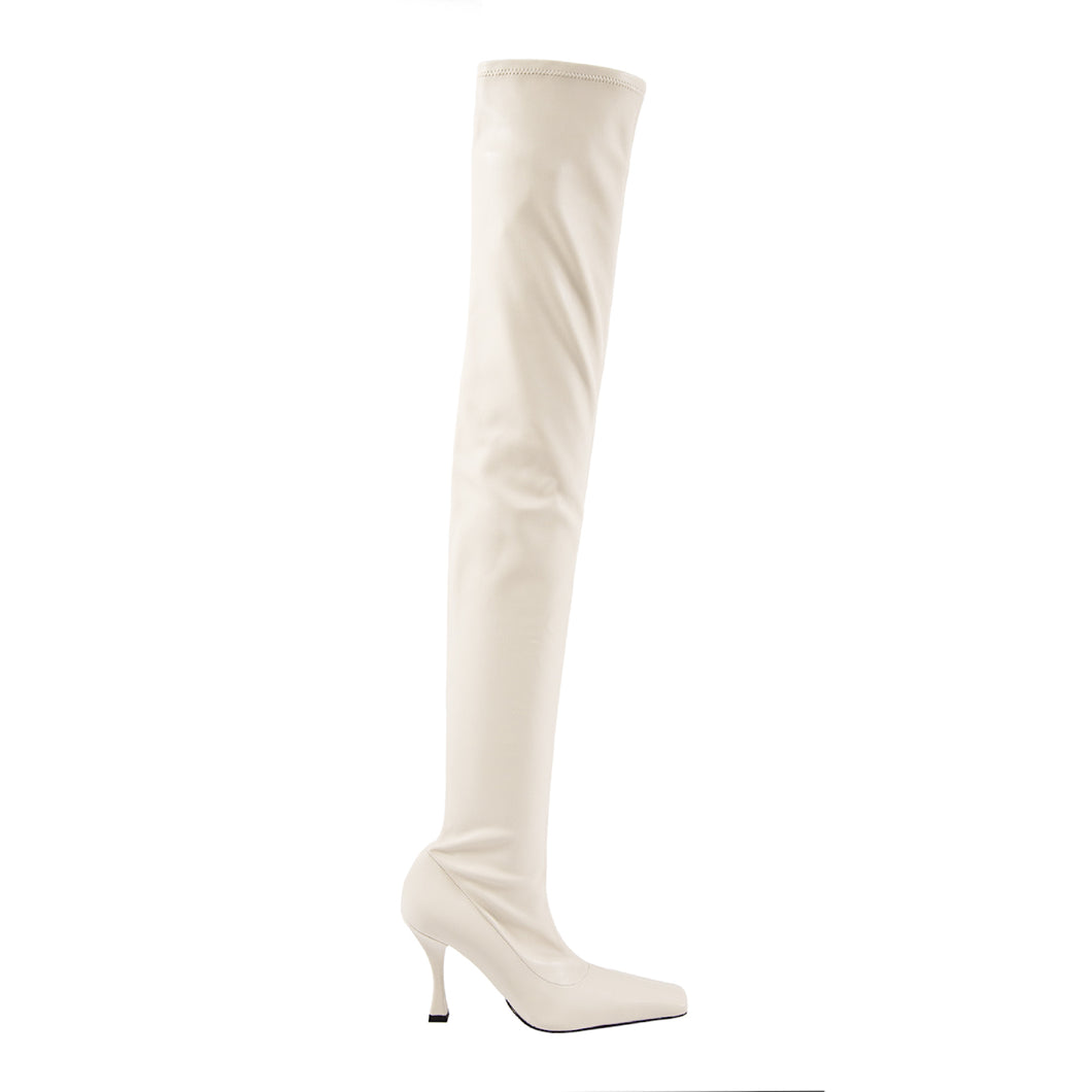 PROENZA SCHOULER STRETCH THIGH-HIGH BOOTS WHITE