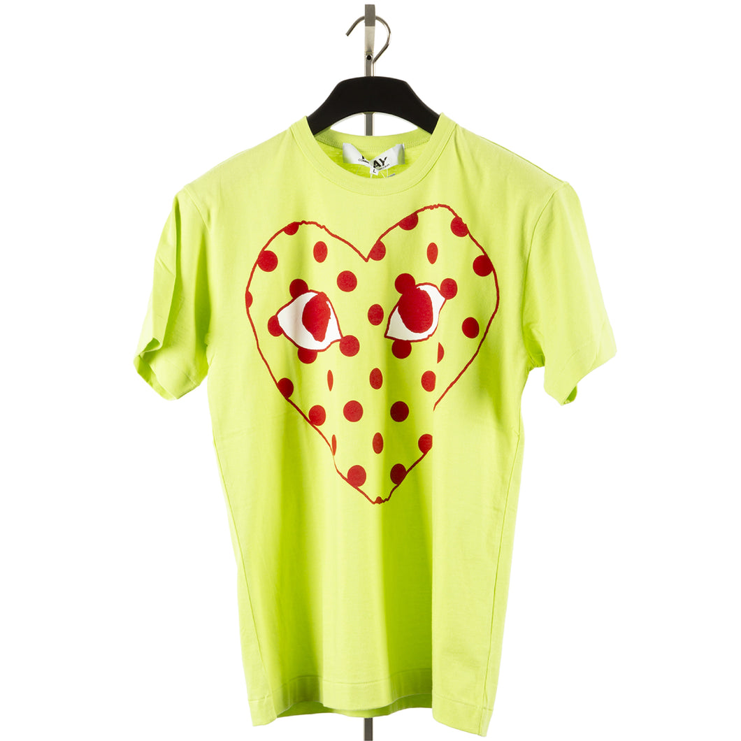 COMME DES GARCONS PLAY T-SHIRT WITH LARGE DOTTED HEART GREEN