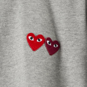 COMME DES GARCONS PLAY T-SHIRT WITH SMALL DOUBLE HEARTS GREY