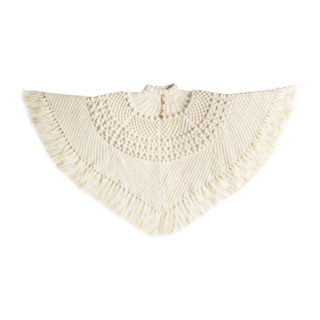 SAINT LAURENT FRINGE KNIT CAPE WHITE