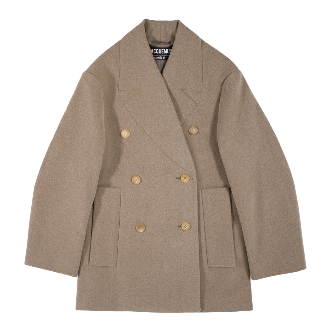 JACQUEMUS DOUBLE-BREASTED SHORT COAT BROWN