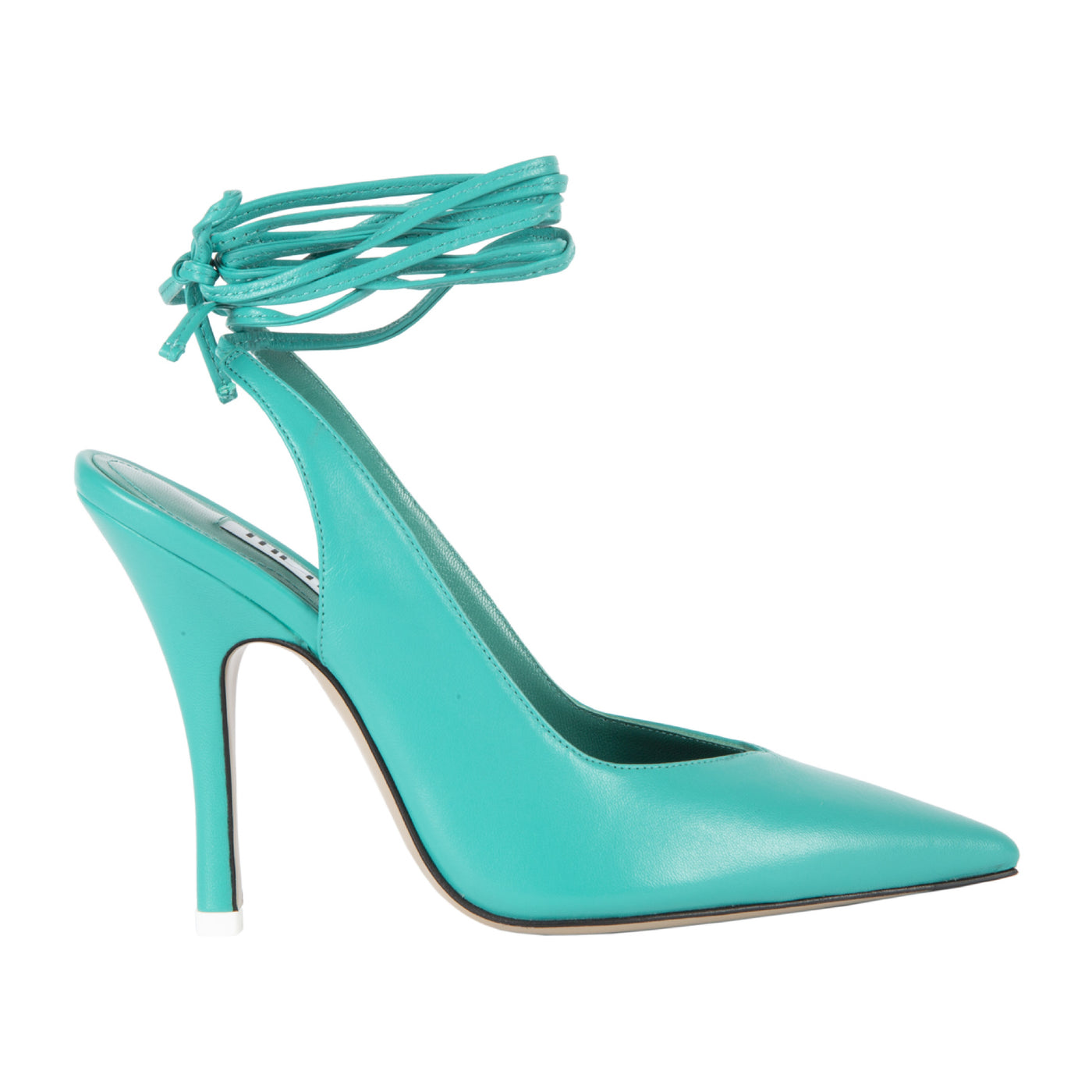 Load image into Gallery viewer, ATTICO ANKLE-WRAP LEATHER SLINGBACK PUMPS GREEN