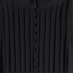 SAINT LAURENT LONG SLEEVE SILK DRESS BLACK