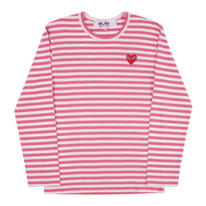 COMME DES GARCONS PLAY STRIPED TEE WITH SMALL HEART PINK