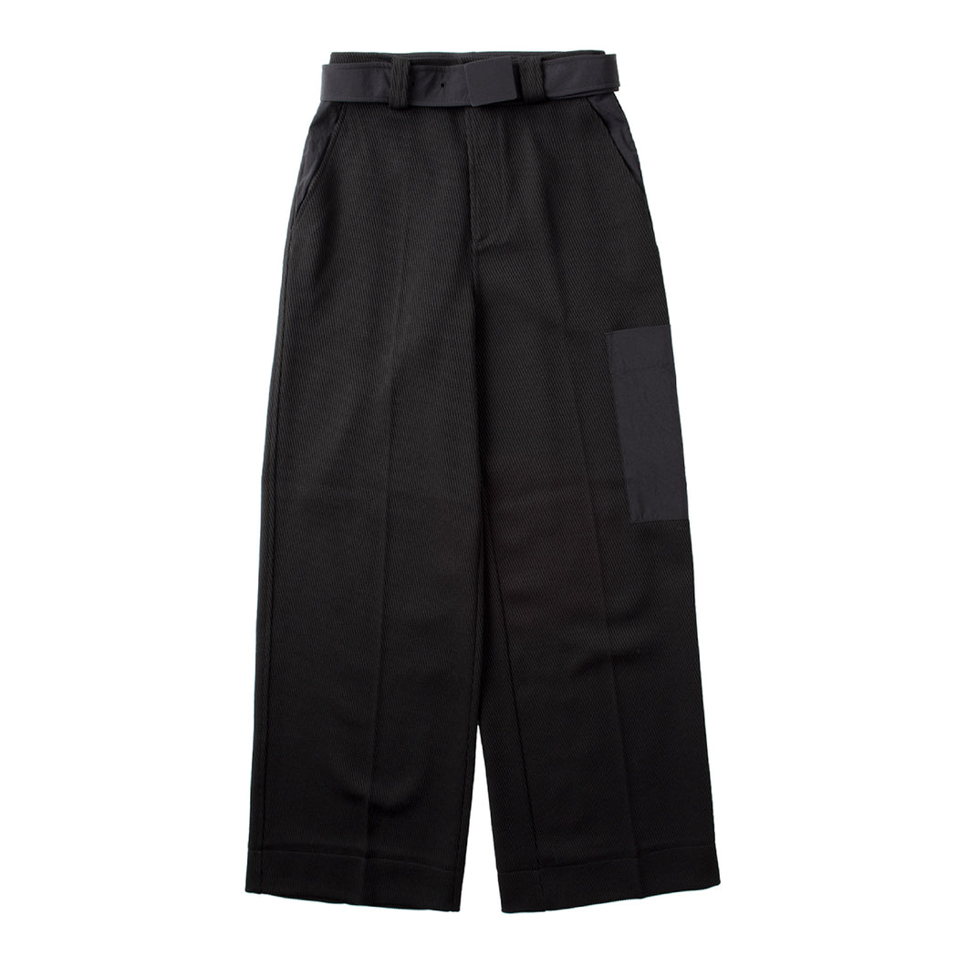 GANNI TWILL PANTS BLACK