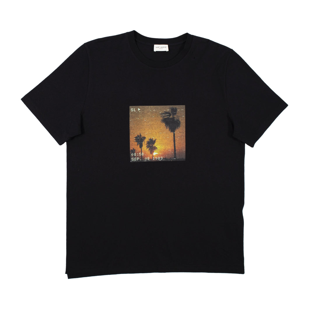SAINT LAURENT VHS SUNSET T-SHIRT BLACK