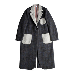 THOM BROWNE ELONGATED SACK OVERCOAT GREY