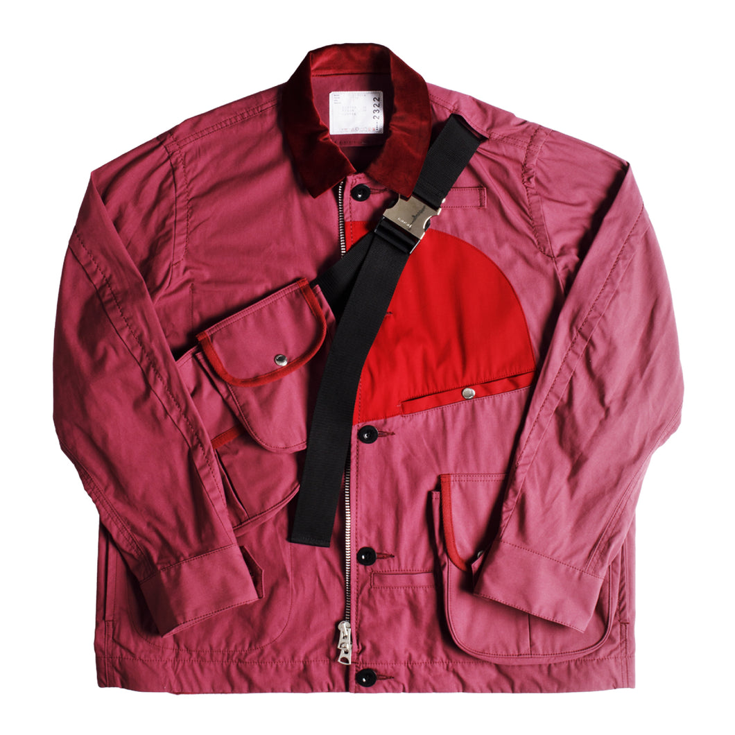 SACAI COTTON OXFORD BLOUSON PINK