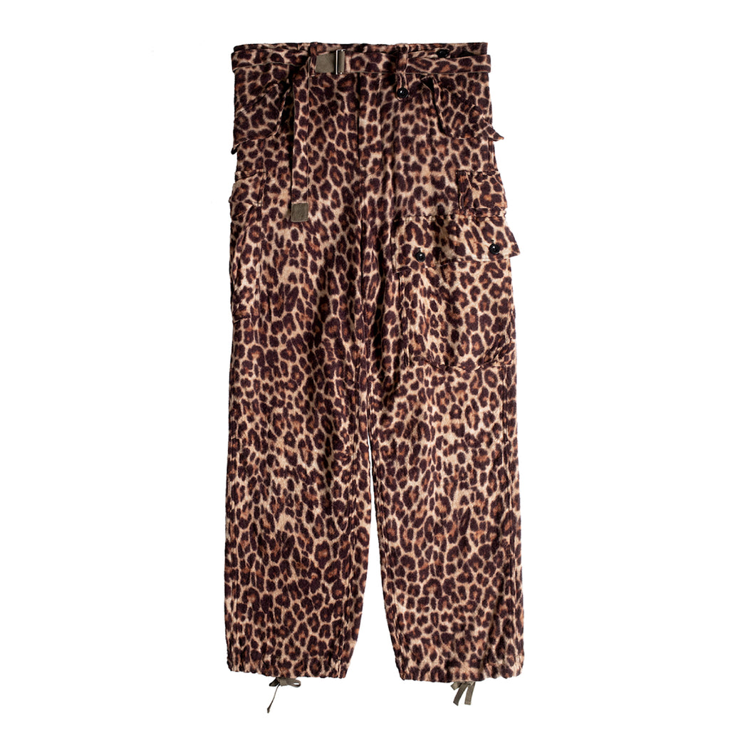 SACAI LEOPARD SHRIVEL PANTS MULTI