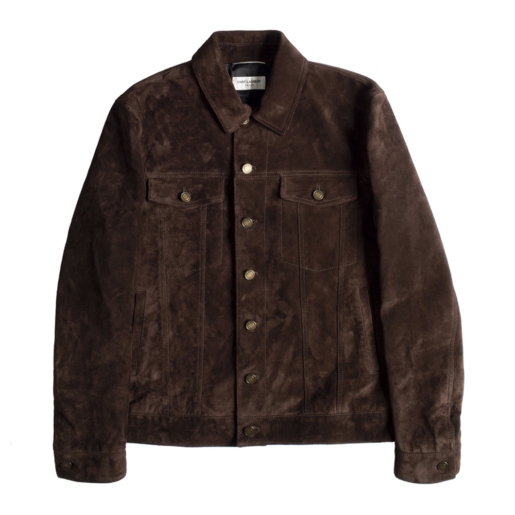 SAINT LAURENT CLASSIC DENIM JACKET BROWN