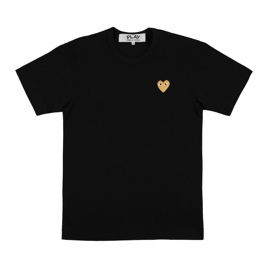 COMME DES GARCONS PLAY T-SHIRT WITH GOLD HEART BLACK