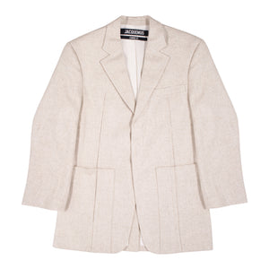 JACQUEMUS SINGLE-BREASTED BLAZER NEUTRAL