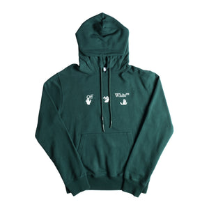 OFF-WHITE BIG LOGO SLIM HOODIE GREEN