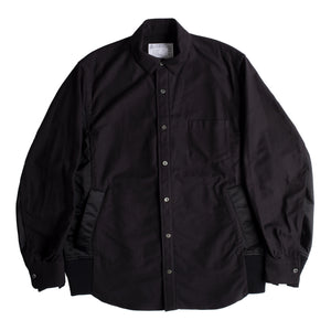 SACAI NYLON TWILL COTTON SHIRT BLACK