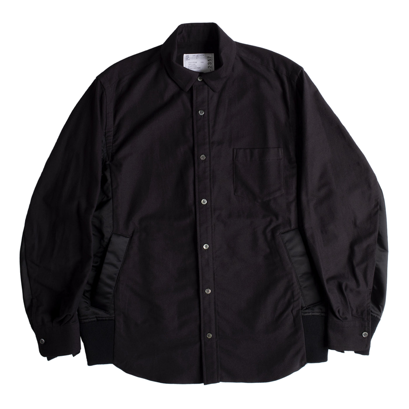 Load image into Gallery viewer, SACAI NYLON TWILL COTTON SHIRT BLACK