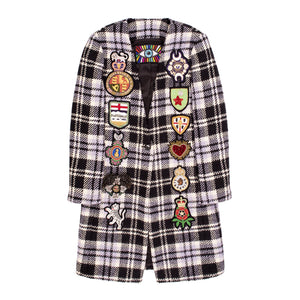 LIBERTINE PLAID TWEED V-NECK COAT WITH PATCHES BLACK