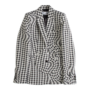 OFF WHITE FITTED HOUNDSTOOTH BLAZER BLACK