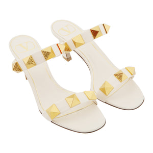 VALENTINO ROCKSTUD SLIDE SANDALS WHITE