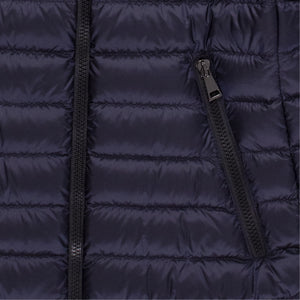 MONCLER HOODED PUFFER COAT NAVY