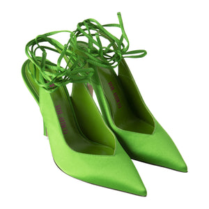 ATTICO SLING BACK TIE UP PUMP IN SATIN GREEN