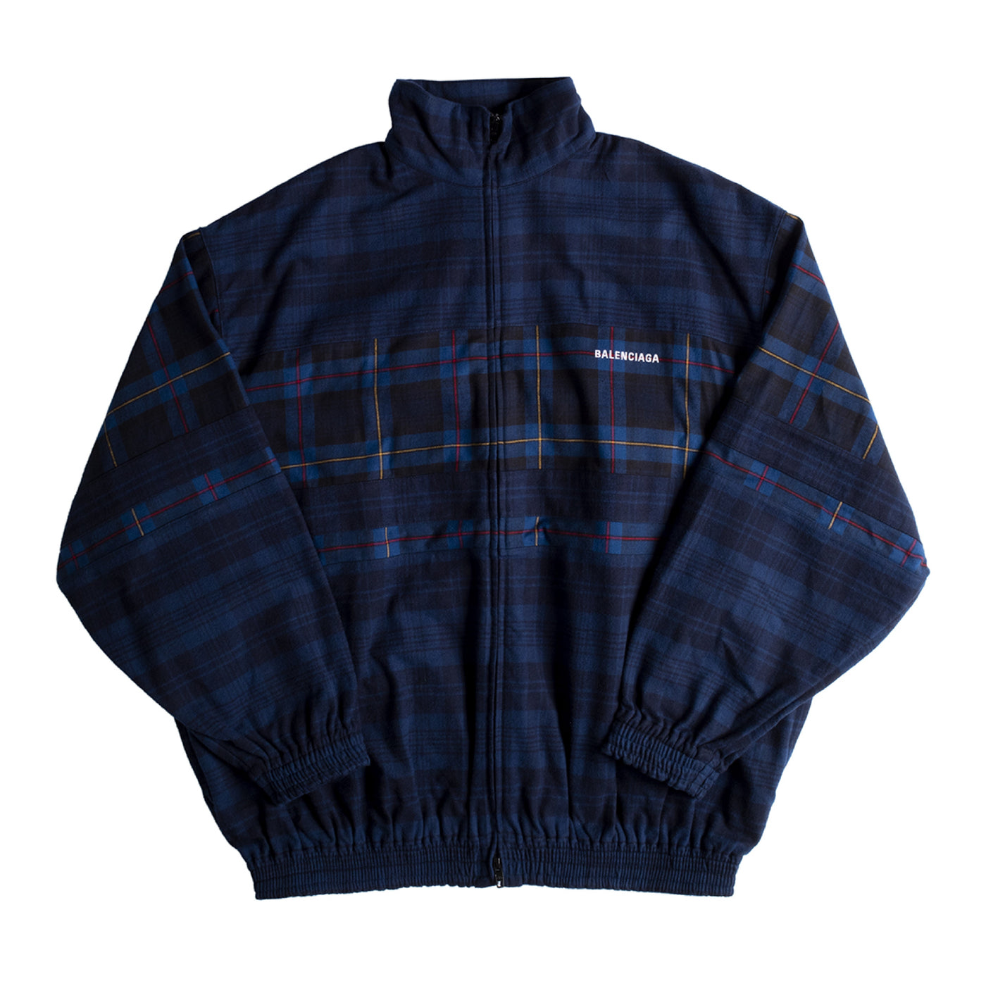 Load image into Gallery viewer, BALENCIAGA ZIP UP CHECK FLANNEL JACKET BLUE