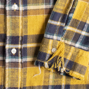 R13 SHREDDED-SEAM PLAID SHIRT YELLOW