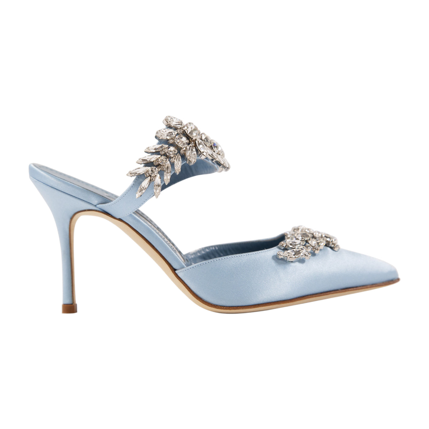 Load image into Gallery viewer, MANOLO BLAHNIK CRYSTAL-EMBELLISHED MULES BLUE