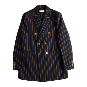 SAINT LAURENT DOUBLE BREASTED STRIPED BLAZER BLUE