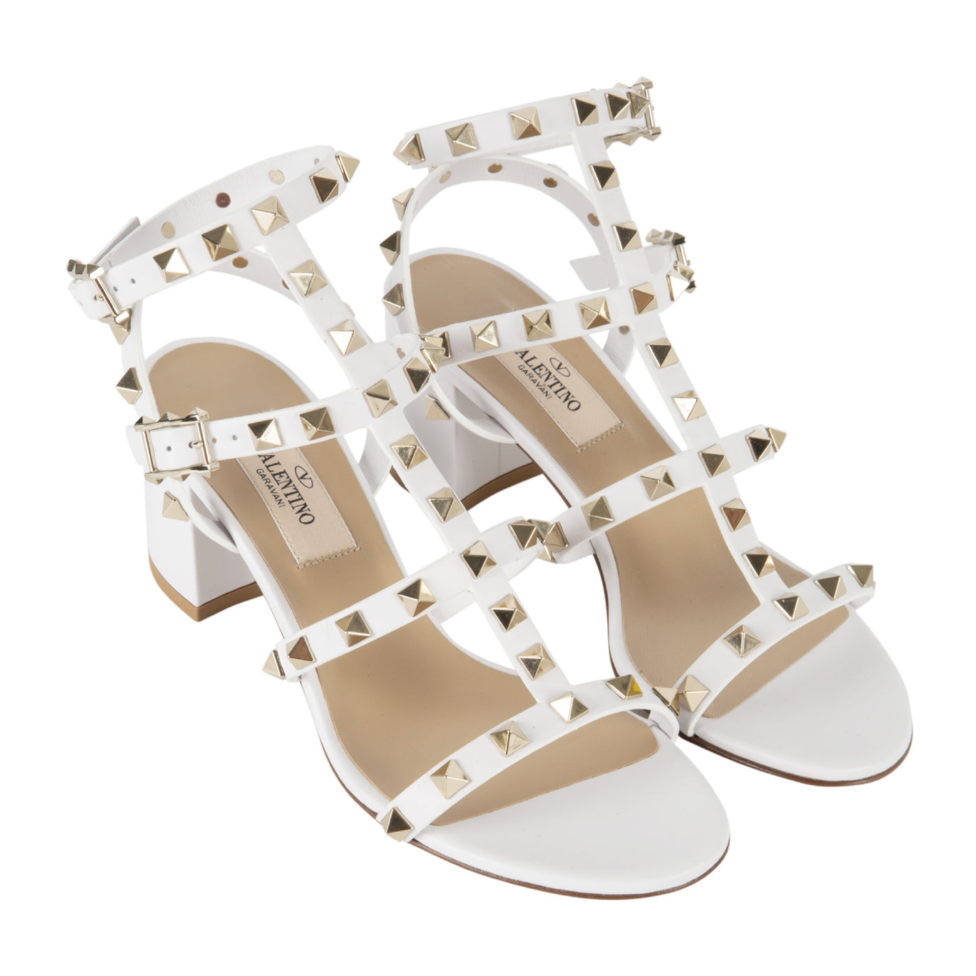 Load image into Gallery viewer, VALENTINO CAGED ROCKSTUD BLOCK-HEEL SANDALS WHITE
