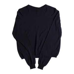 RICK OWENS CROPPED OVERSIZED SWEATER BLUE
